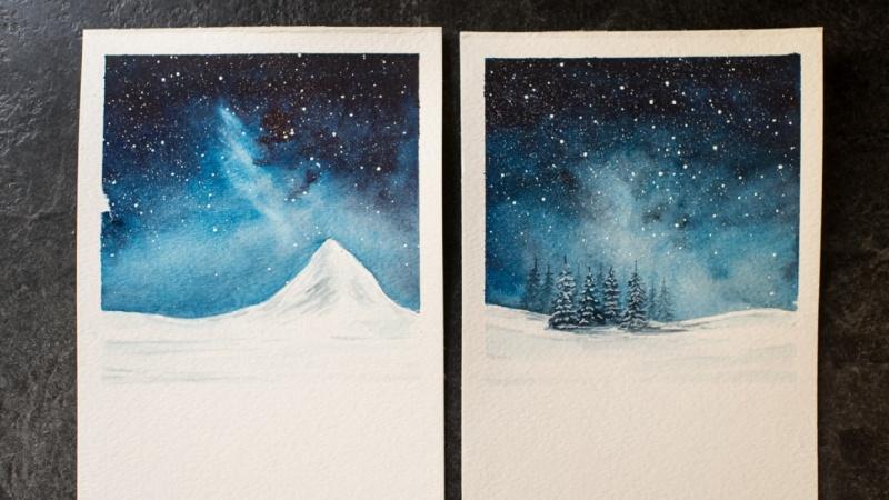 Night Sky + Snowy Landscape