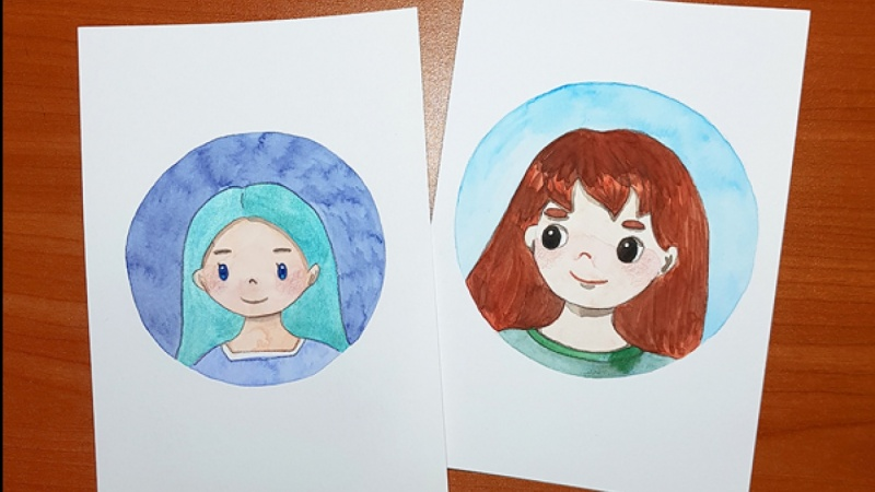 watercolor character