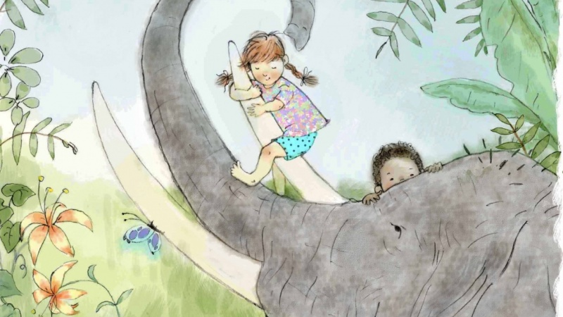 children with elephant friend