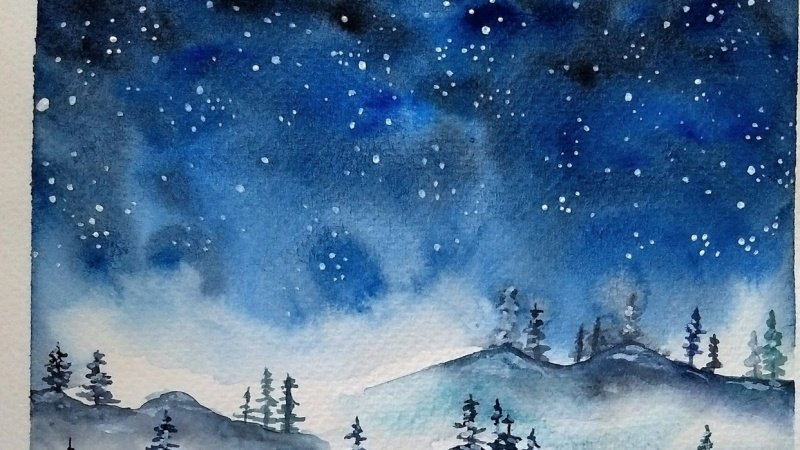 Painting a Winter Landscape and Starry Night Sky with Watercolors