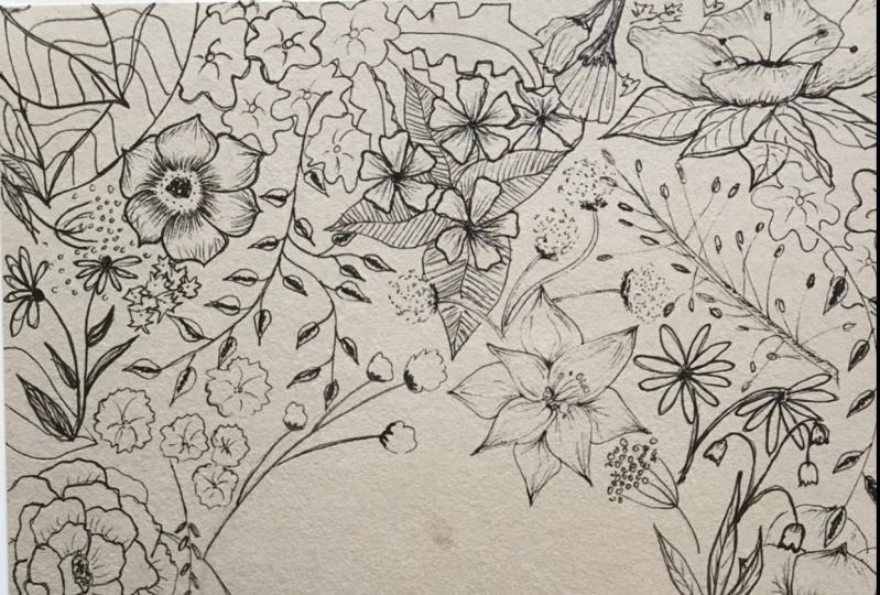 Negative space florals