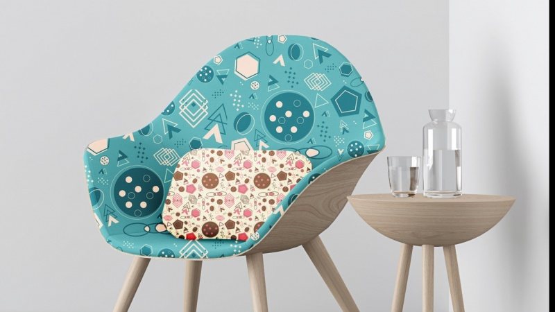 Realistic Mockup on Chair and Pillow