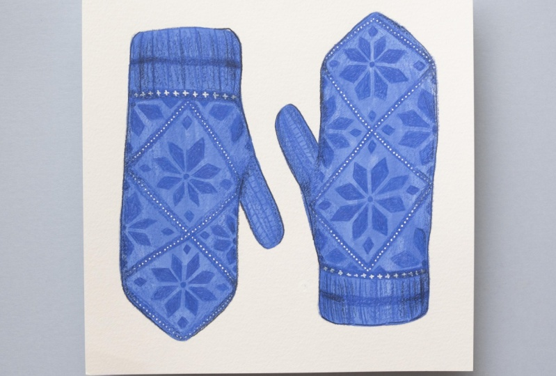 Painting Mittens in Pencil Crayon and Gouache