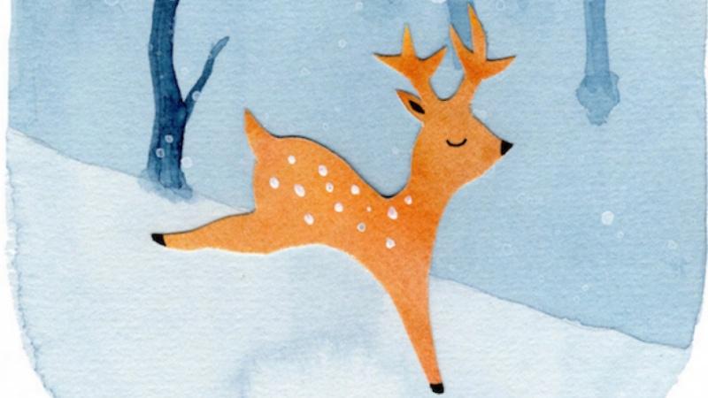 Winter Forest Deer