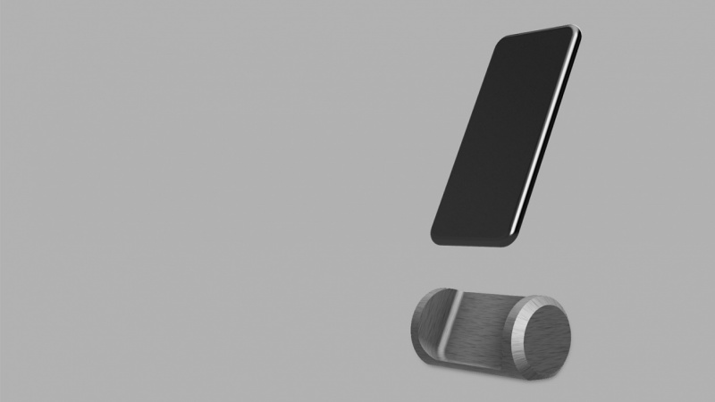 Brushed metal iPhone stand