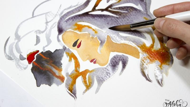 Hawaiian watercolor goddesses, work process