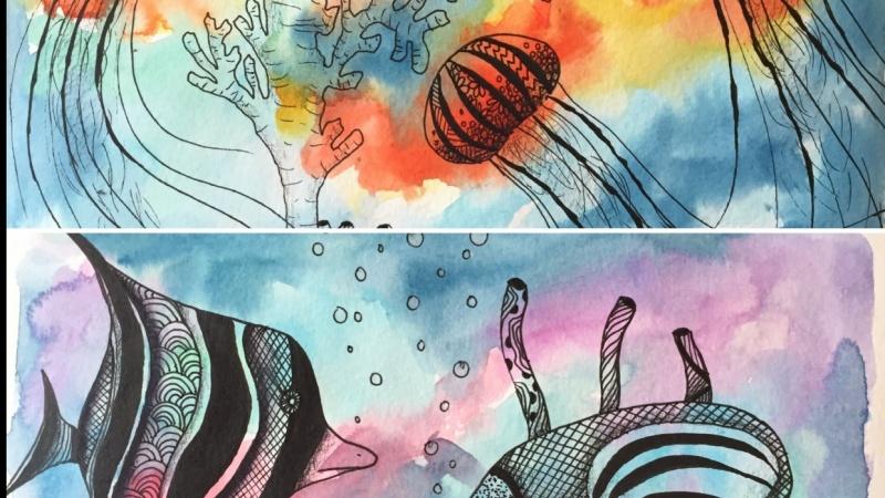 Watercolor fish doodles