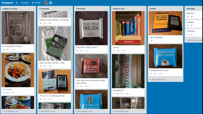 Organising my photos for Instagram with Trello