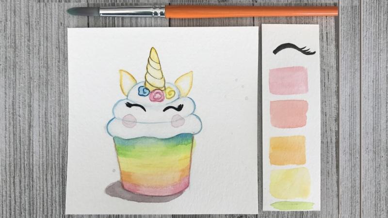 Watercolor Unicorn Cupcake with Color Palette