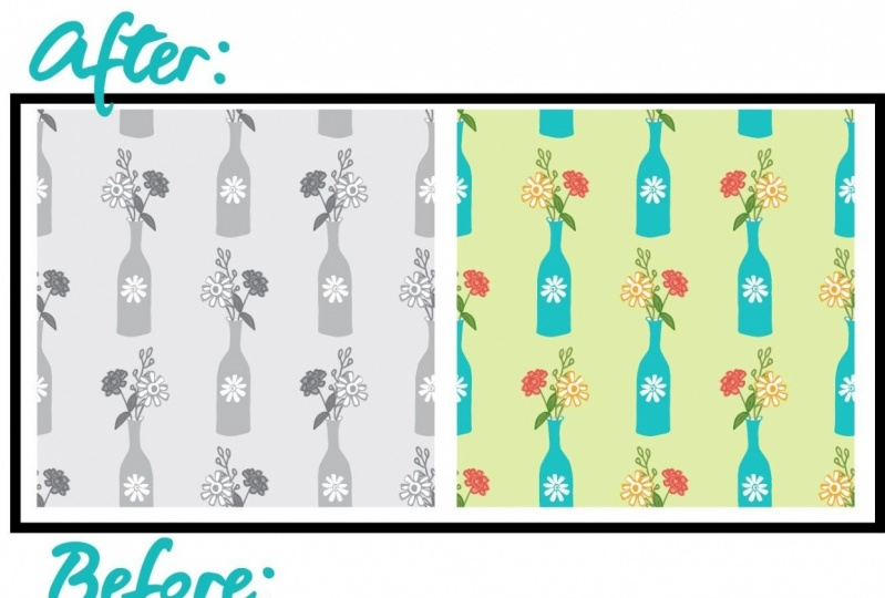 Flowers in Vase Pattern - Before and After