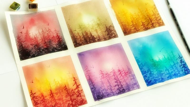Watercolor Tree line vignettes