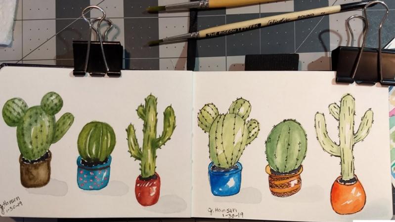 Watercolor 'n Inked Cactus