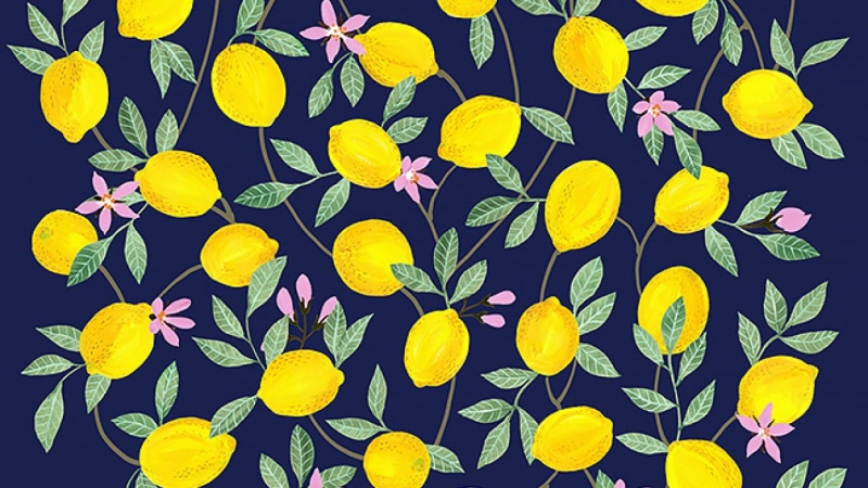 Gouache Lemons still life turned into digital pattern