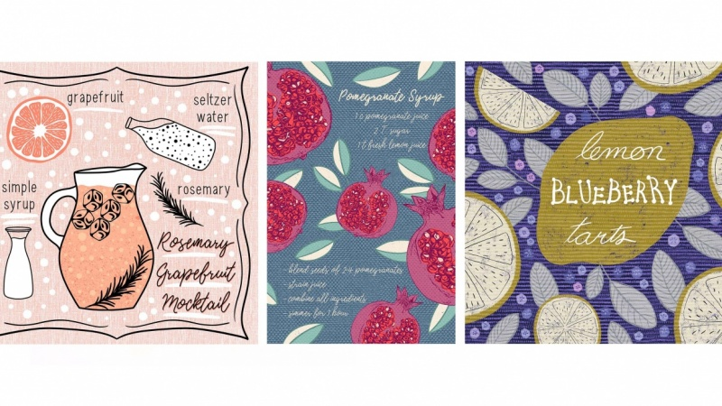 Four Recipe Illustrations Made in Procreate on iPad Pro