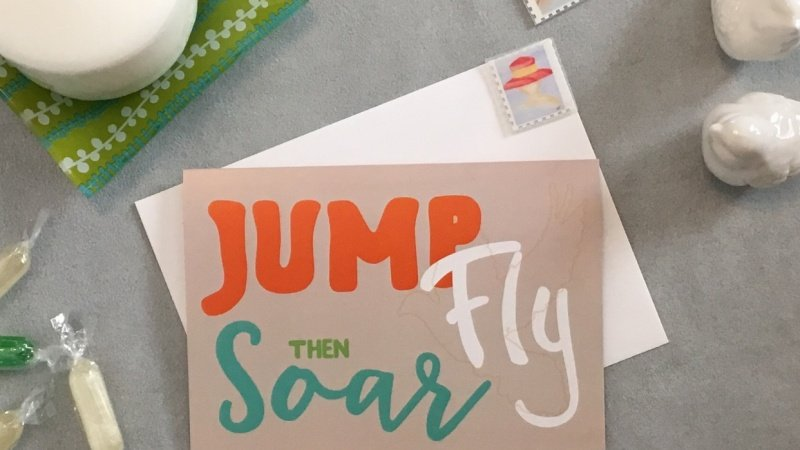 Note card, Jump, Fly then Soar-Flatlay