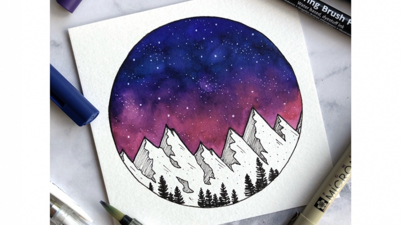 Galaxy with a water Based Markers