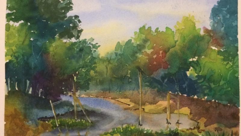 Watercolor Landscape Painting A Riverside Jungle Scene