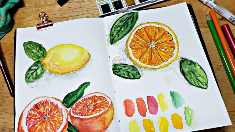 Citrus Fruits In Watercolor