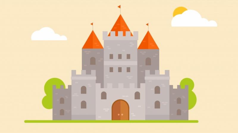 2d animation orange castle