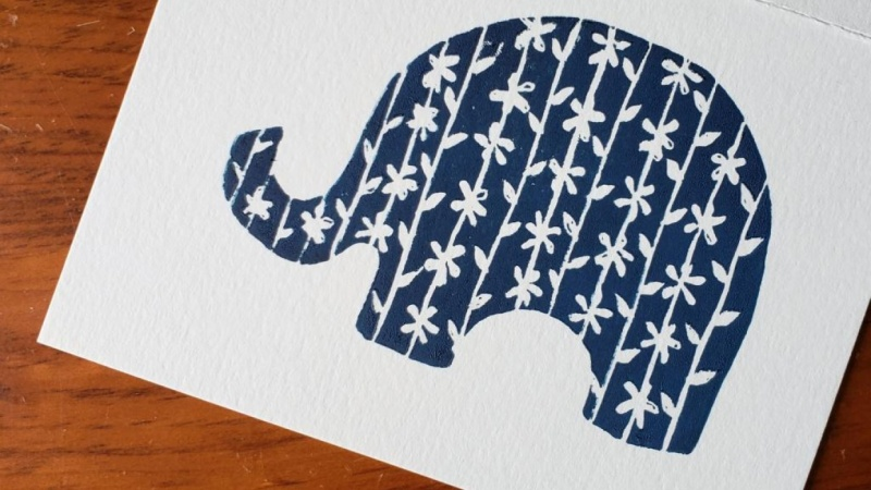 Elephant Lino Print