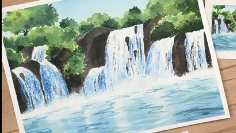 Watercolor waterfall