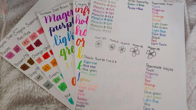 Pen and Marker Swatches