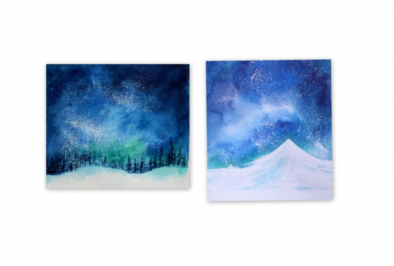 Snowy Galaxy Landscape Painting with Watercolors