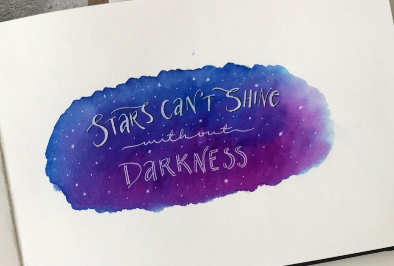 Galaxy backgrounds with Water-based markers