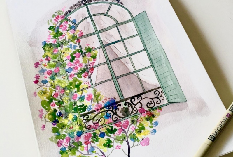 French Window with Summer Flowers