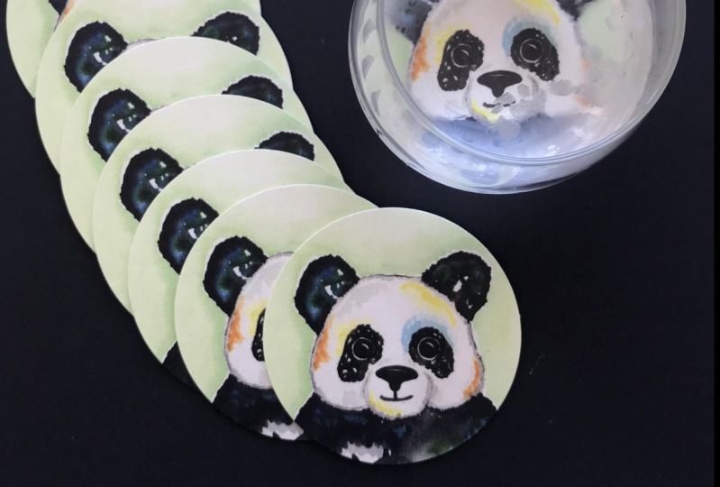 Watercolor Panda made into coasters using an online printing service.
