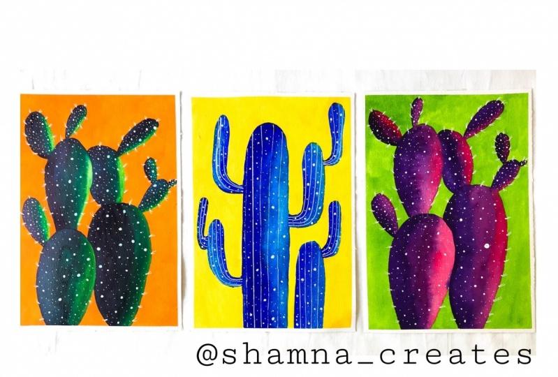 Watercolour Cacti