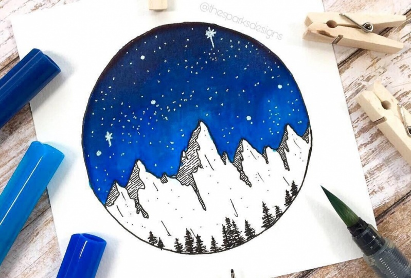 """Galaxy Skies with Water-Based Markers"" Skillshare class by Jen Aranyi"