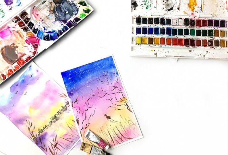 Watercolor Practice / Painting Sunsets with Watercolor
