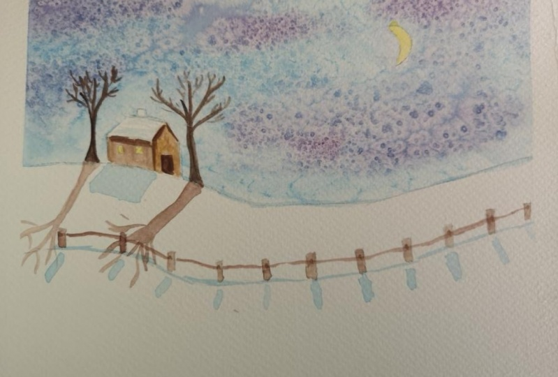 Koča v snegu