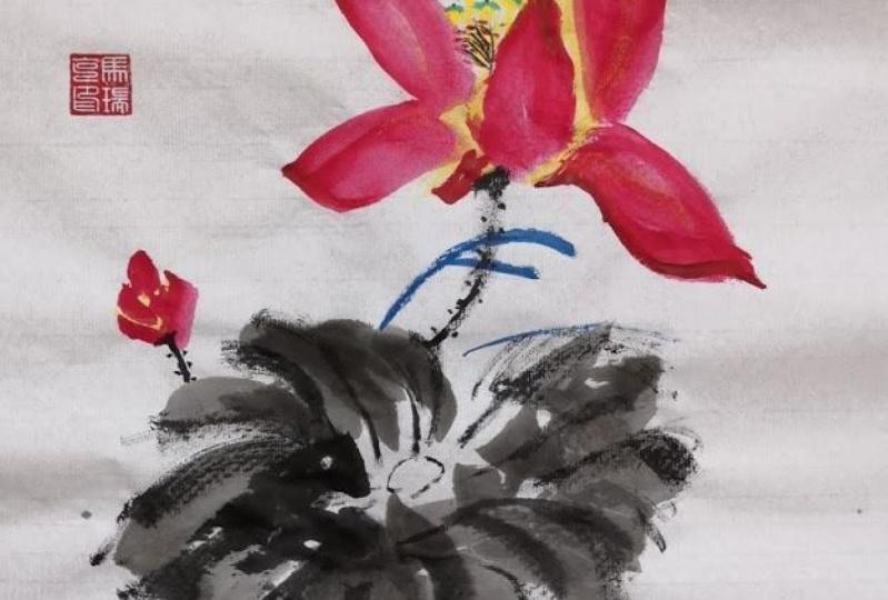 Chinese lotus flower painting