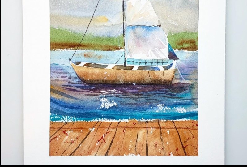 Introduction to Watercolor Seascapes : Learn Negative Painting & Perspective