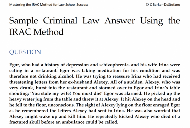 Sample Criminal Law Answer Using the IRAC Method