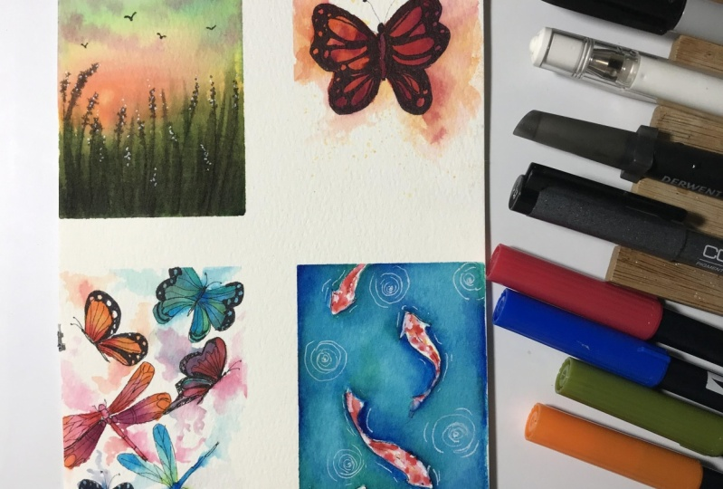 Waterbased markers painting