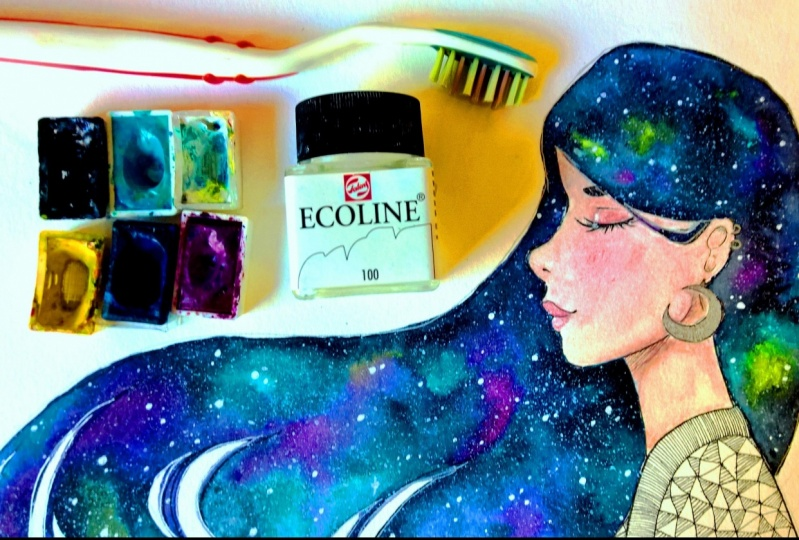 How to paint a galaxy hair with watercolors