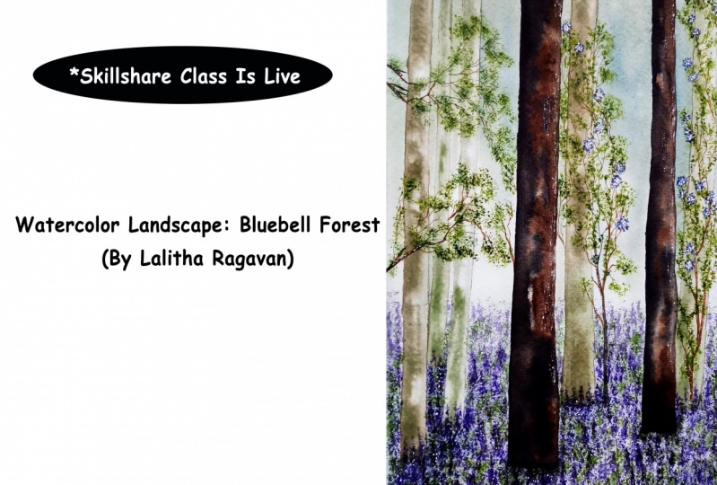 Watercolor Landscape: Bluebell Forest