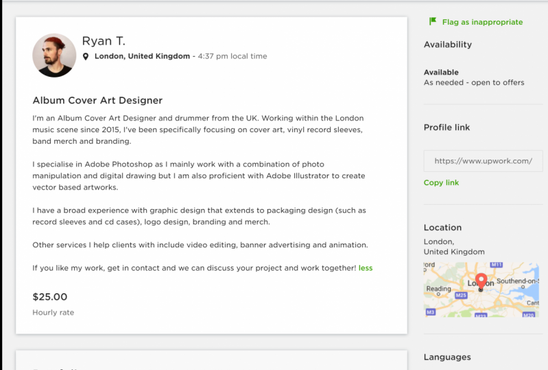 Upwork Profile - Ryan Turgoose