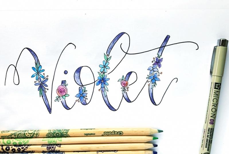 Floral Lettering - Violet!