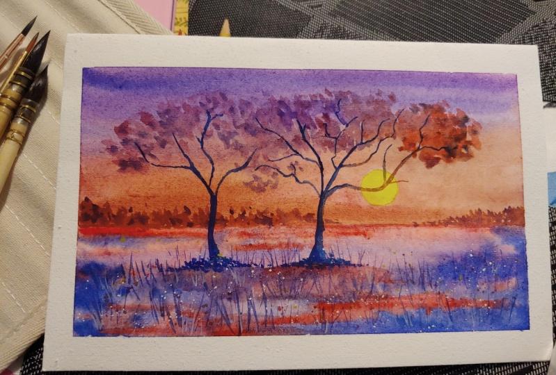 Purple Sunset with Dhritikana Nath (watercolor.illustration.letter)