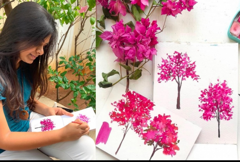 Three ways to paint watercolor bougainvillea's
