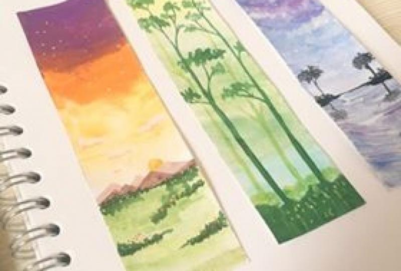 Landscape studies using gouache