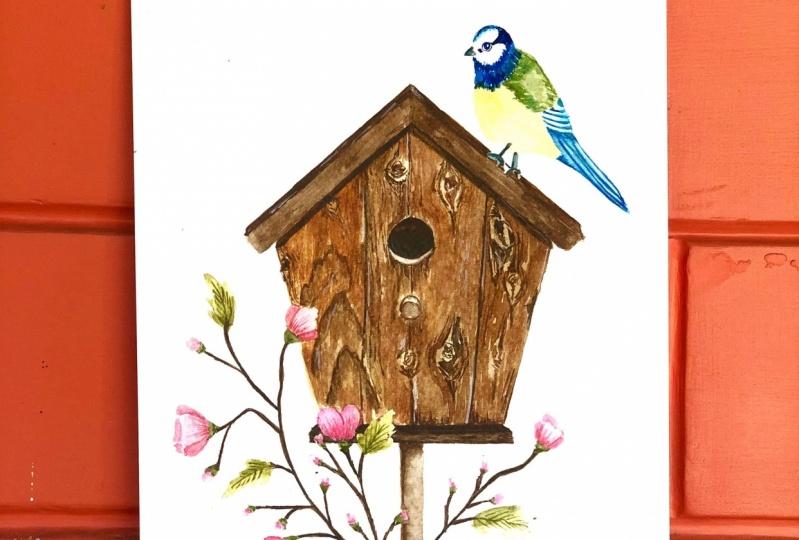 Birdhouse Scene