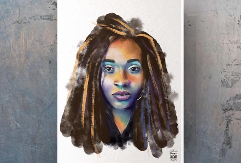 Digital watercolor portrait