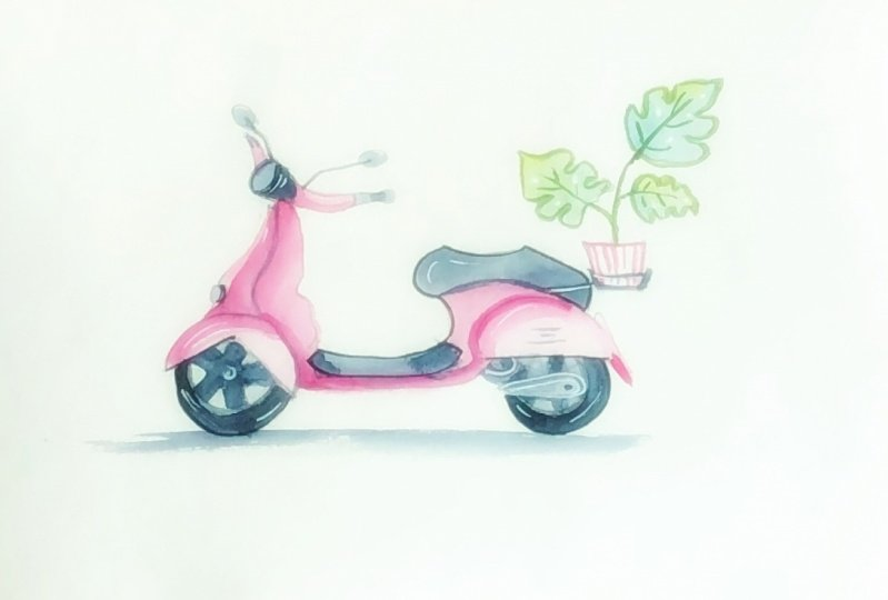 Watercolor scooter