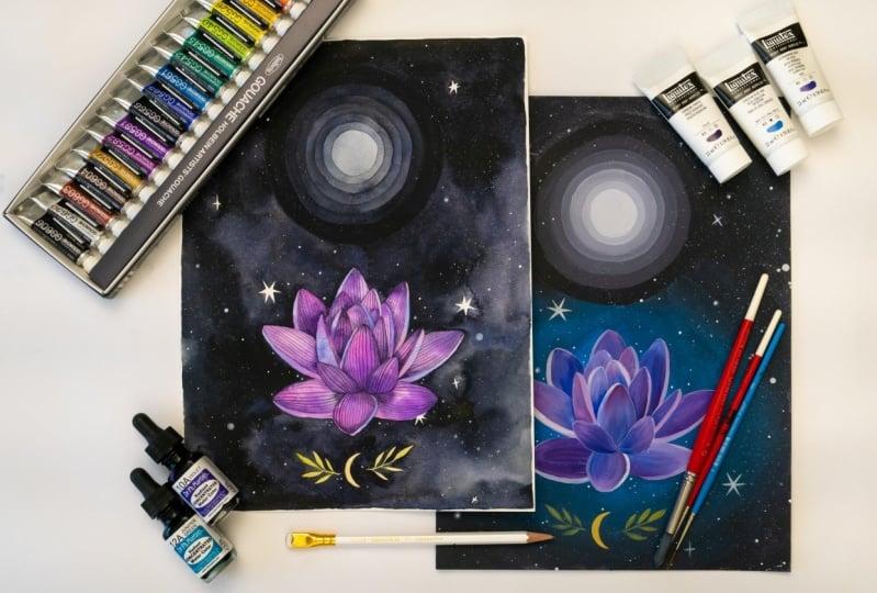Sample Project: Watercolor + Gouache + Acrylic