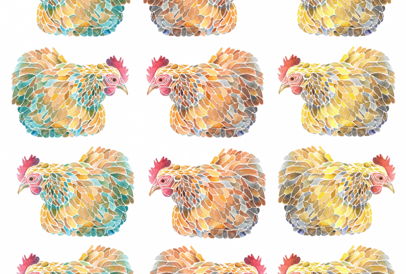 Mosaic Chicken Pattern